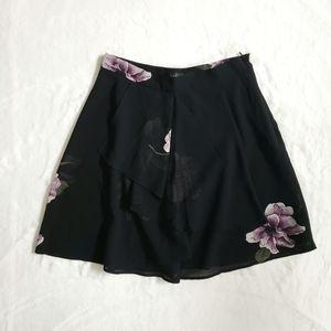 Dynamite Flowy Floral Skirt Black